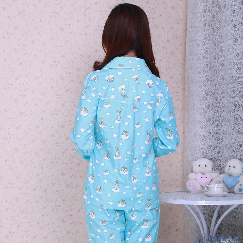 乔家棉依秋季纯棉卡通可爱家居服套装女人长袖睡衣 月子服 蓝色小猫 l