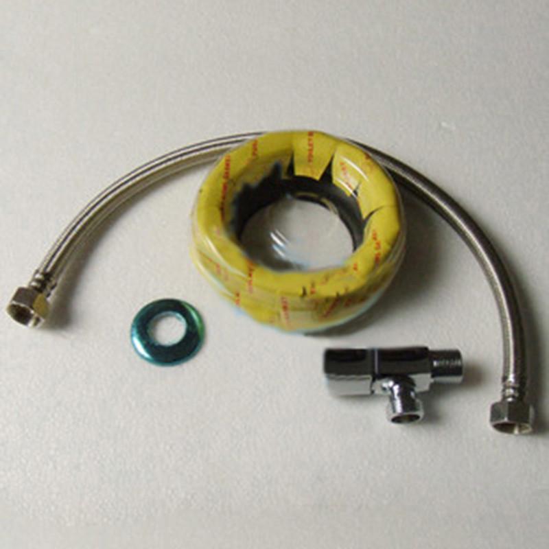 马桶/座便器安装配件组合:法兰圈+角阀+不锈钢编织管