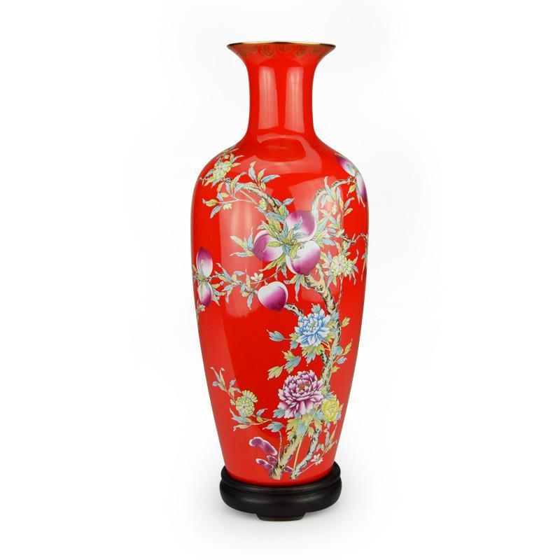 花瓶客厅装饰复古落地式创意花瓶摆件观音花瓶大花瓶珐琅彩花瓶红色