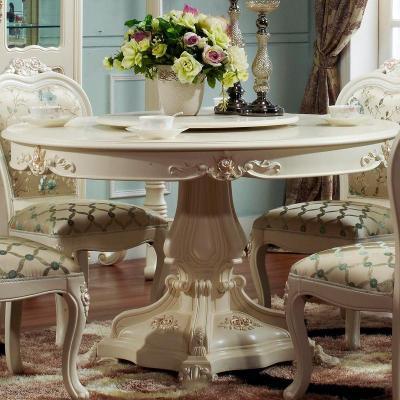 法丽莎家具g8欧式圆餐桌宜家餐桌餐椅组合白色实木
