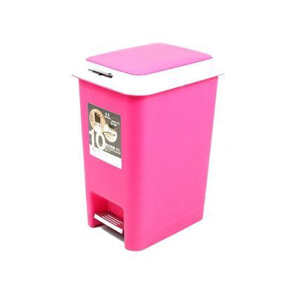 大号20l玫红色脚踏式缓冲型双盖垃圾桶家用桶