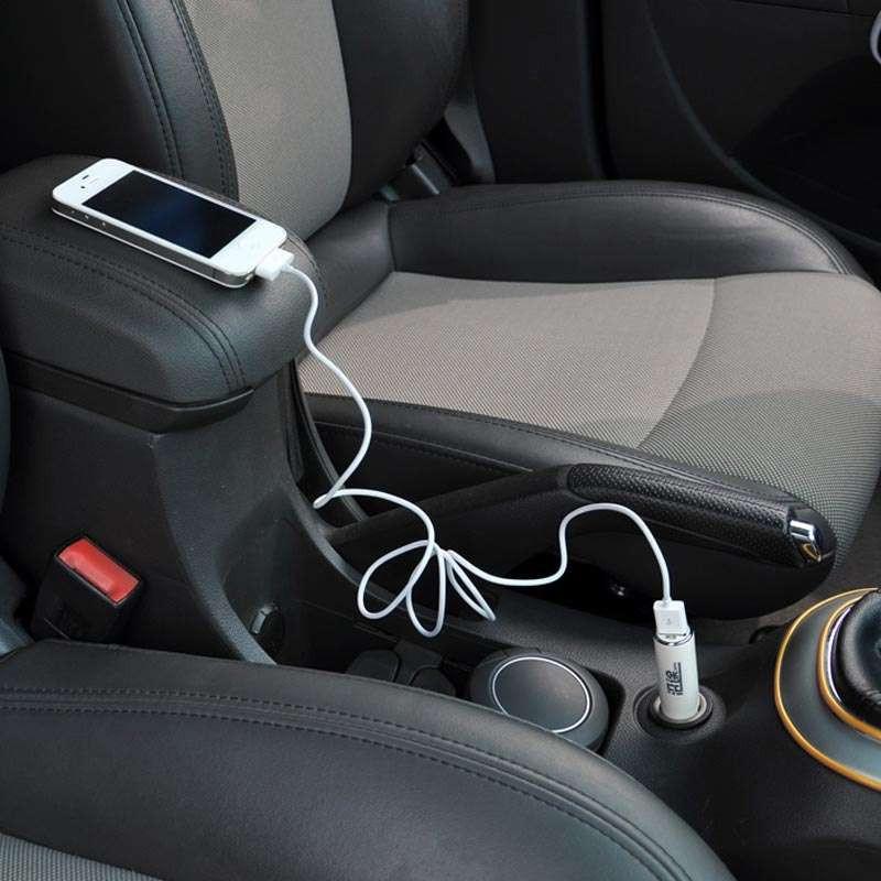 沿途a34 车载手机充电器苹果汽车充电器点烟器带usb 白色