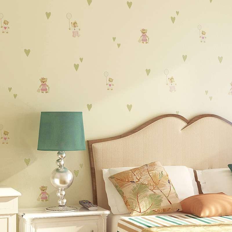 y纸尚美学无纺布环保儿童房墙纸 可爱熊男孩女孩卧室背景壁纸