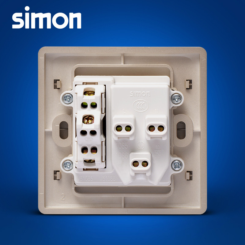 西蒙开关插座面板55系列香槟金色五孔插座带双控开关n51085b-56
