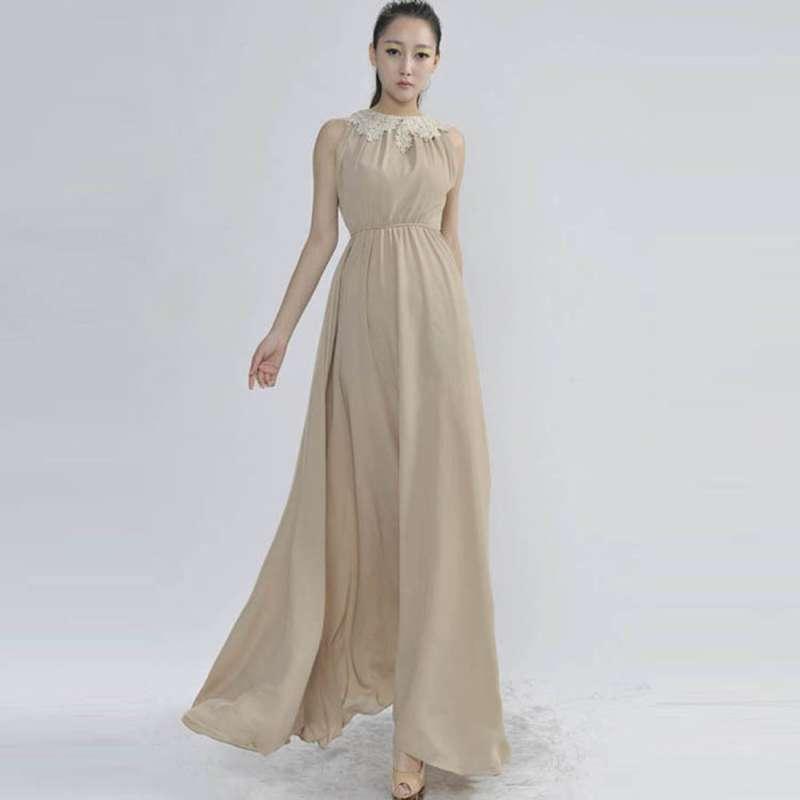 玛雅元素 2014新款雪纺纯色拖地长裙显瘦背心连衣裙hjo9532 杏色 l