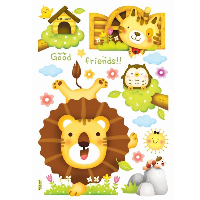 贝贝梦可移除diy儿童房幼儿园教室背景墙贴画卡通夜光贴纸可爱长颈鹿