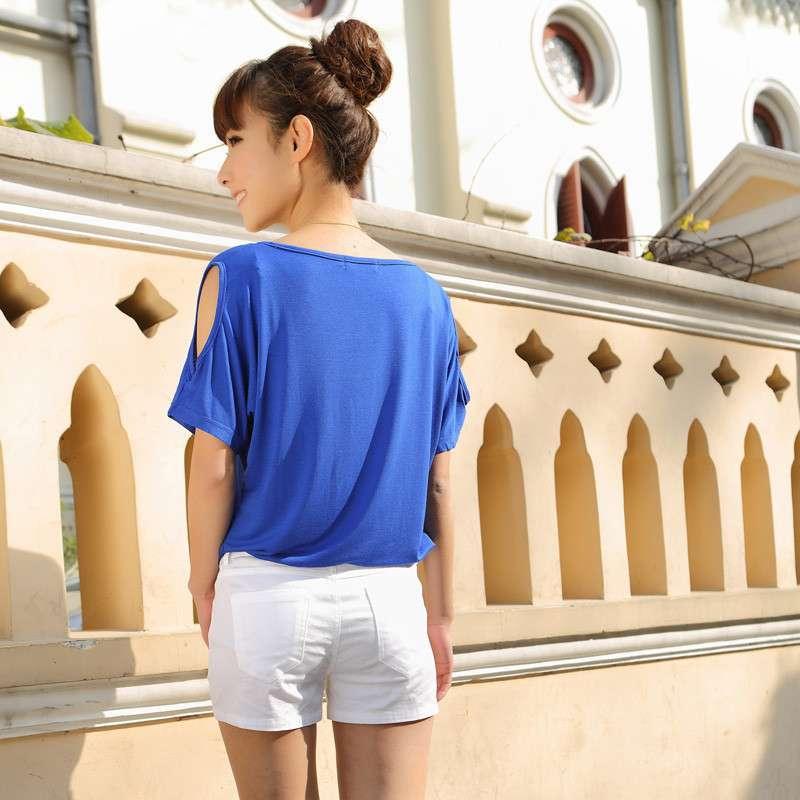 2014夏装新款 韩版莫代尔蝙蝠袖纯色t恤时尚圆领短袖百搭学生t女