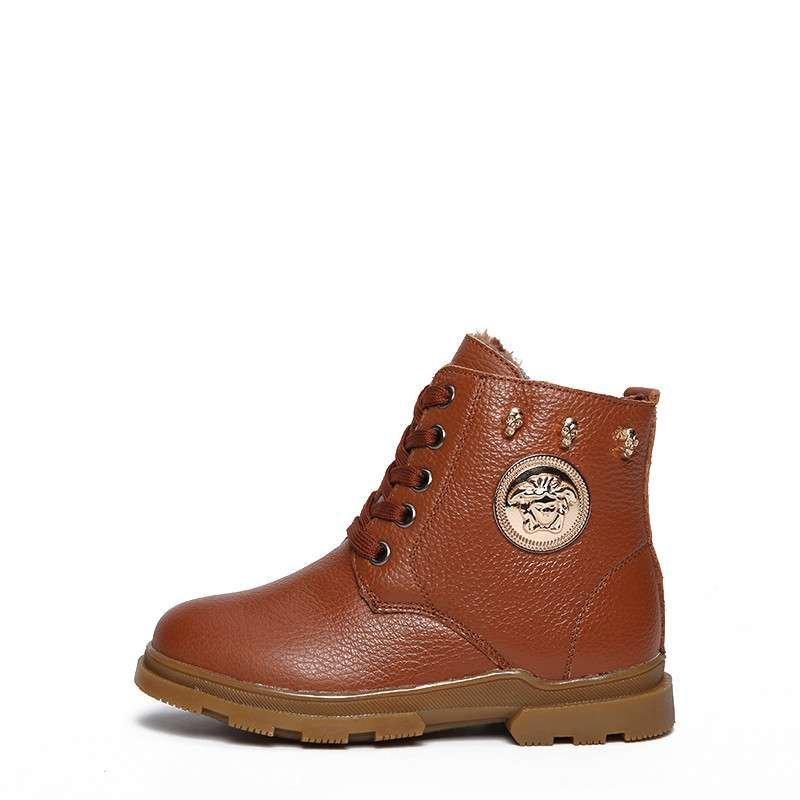 2015新款冬季加绒儿童雪地靴棉鞋男童靴子冬款真皮童鞋马丁靴