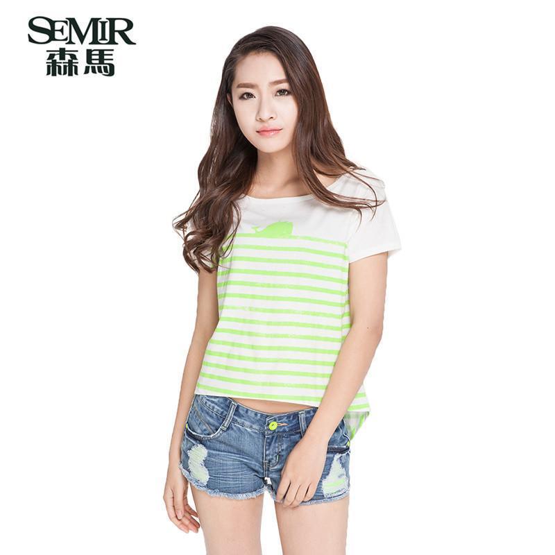 森马2015夏装新款短袖t恤女装韩版圆领套头印花条纹t恤衫女上衣潮 白图片