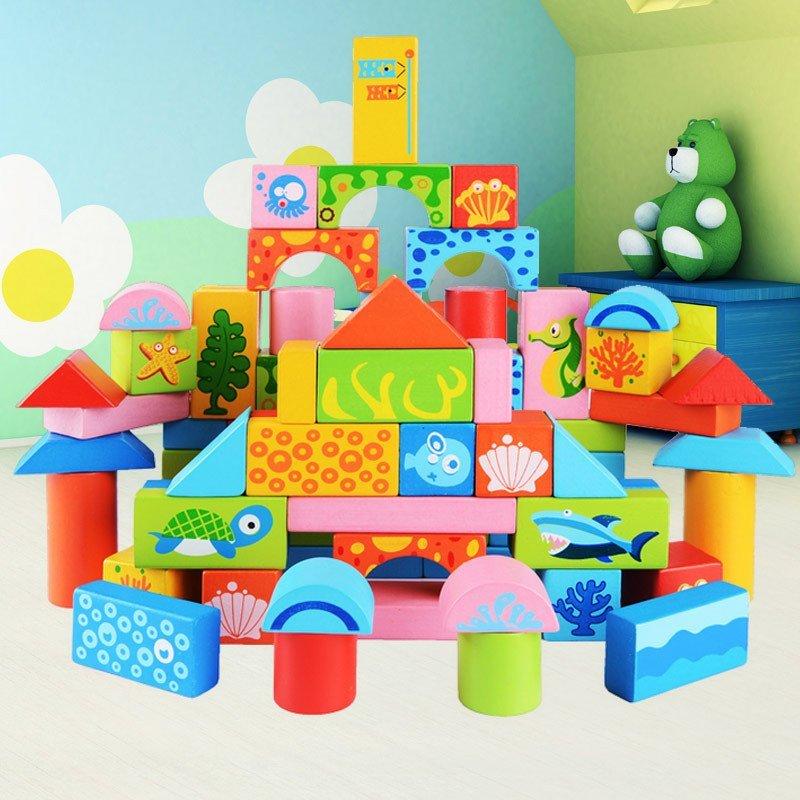 星塔木质积木玩具 早教100粒海洋儿童拼搭积木 木制益智早教智力开发