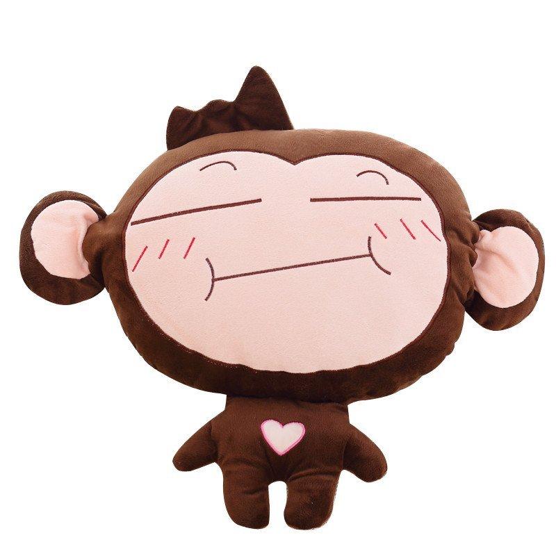 安吉宝贝可爱猴子暖手捂空调毯 三合一抱枕空调被抱枕