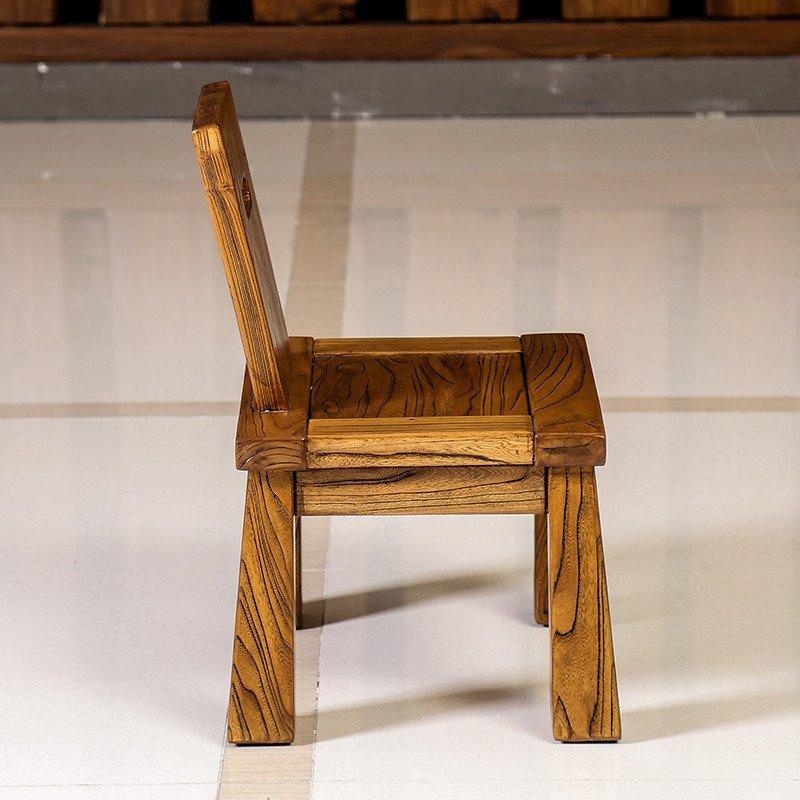 溪木工坊 北方老榆木茶椅家具 中式茶室实木小靠背椅休闲椅茶台椅
