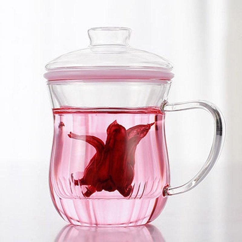 花茶杯耐热玻璃杯女柠檬花茶杯子带盖过滤透明夏天水杯 田园绿(加厚