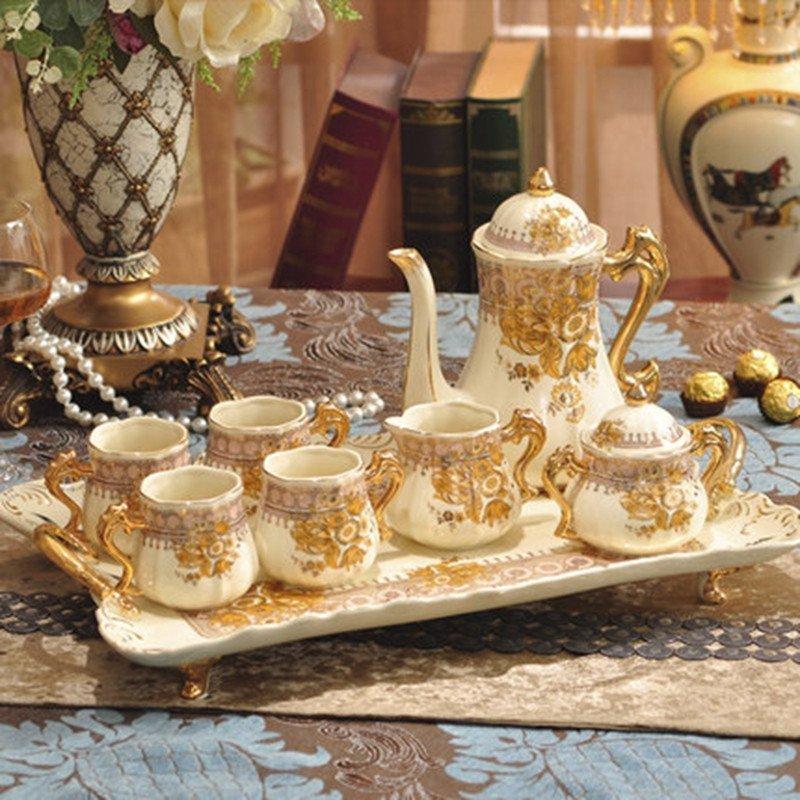 陶瓷咖啡具礼盒 欧式茶具英式下午茶茶具 茶壶茶杯咖啡杯套装 8头篮凤图片