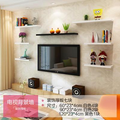 墙上置物架一字隔板搁板墙上书架 置物架电视背景墙创意层板木板 电视