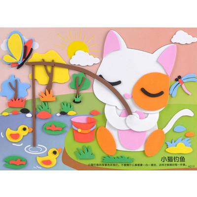 孩派eva贴画儿童手工制作 益智玩具diy幼儿园手工 寓言故事贴纸 小猫