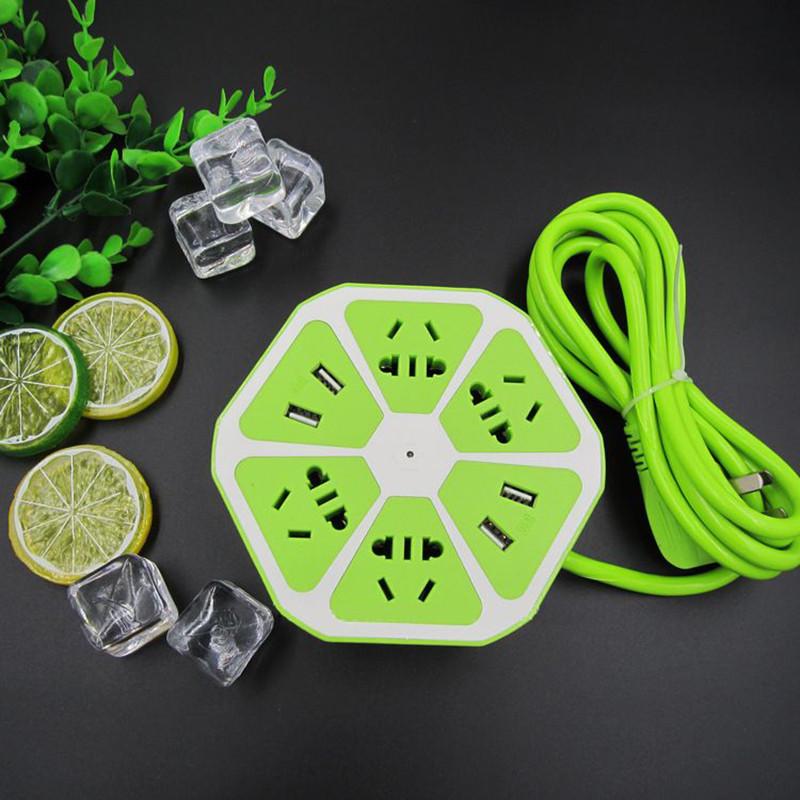 中创 创意柠檬插排插线板水果立体插座 带usb充电口智能插座图片