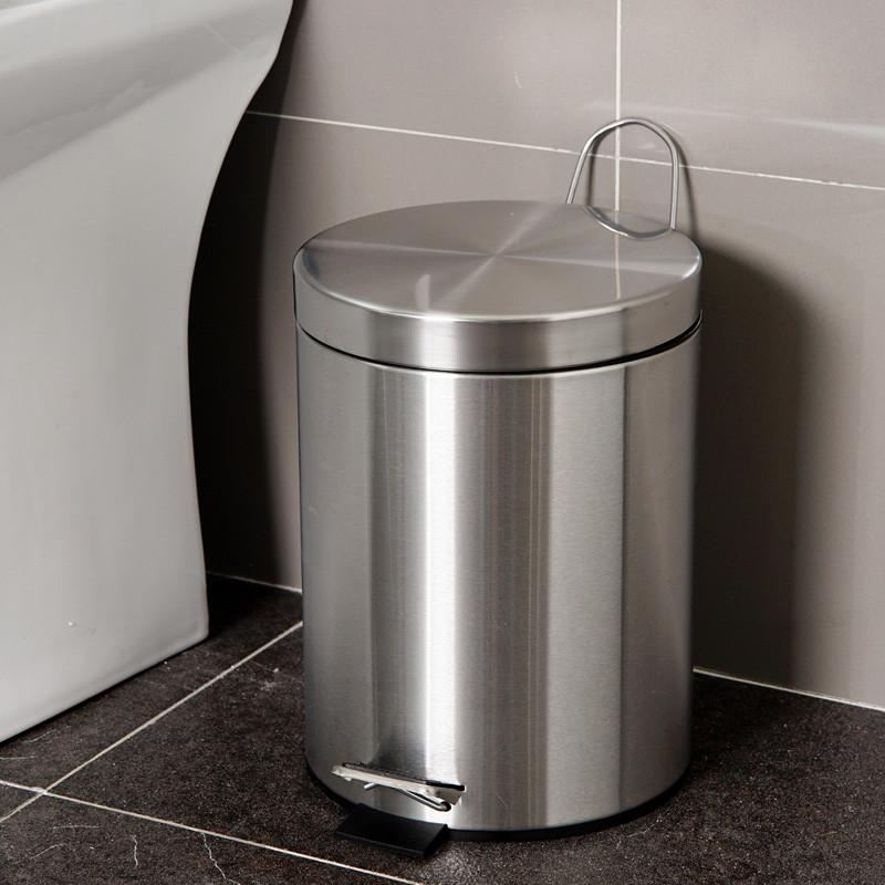 【苏宁易购超市】欧润哲 5升不锈钢拉丝圆形脚踏垃圾桶 卫生间厨房