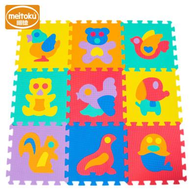 Meitoku明德PE益智环保拼图婴儿童泡沫地垫宝宝爬行垫拼接爬爬垫1-3岁 动物30*1cm(9片/包)