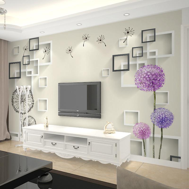 卡茵 現代簡約大型壁畫 客廳電視背景墻壁紙 3d立體墻紙蒲公英墻布整