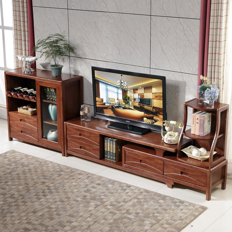 现代简约实木电视柜 橡胶木组合柜客厅影视墙电视柜带