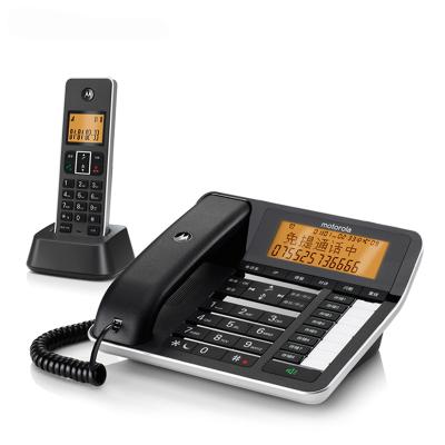 摩托羅拉(MOTOROLA)C7501RC智能插卡錄音子母機高端商務辦公客服電話來電語音報號中文橙色背光固定座機(黑色)