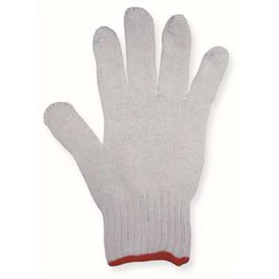 特白漂白涤棉纱线手套,600g/打,红色包边,22cm