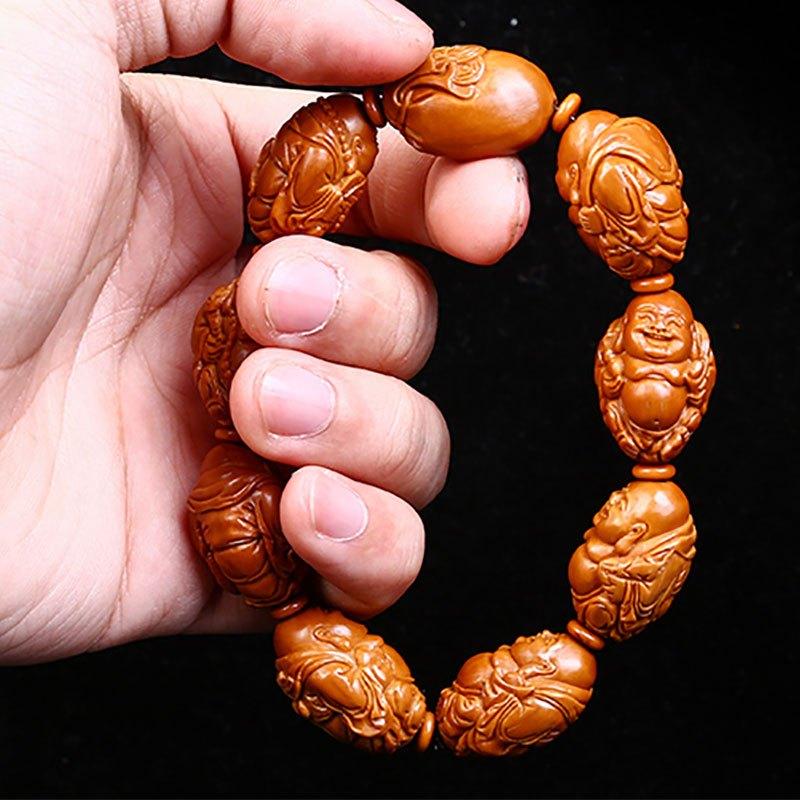 橄榄核雕八宝弥勒手串八大弥勒 刘人义款 橄榄胡手串手链男女
