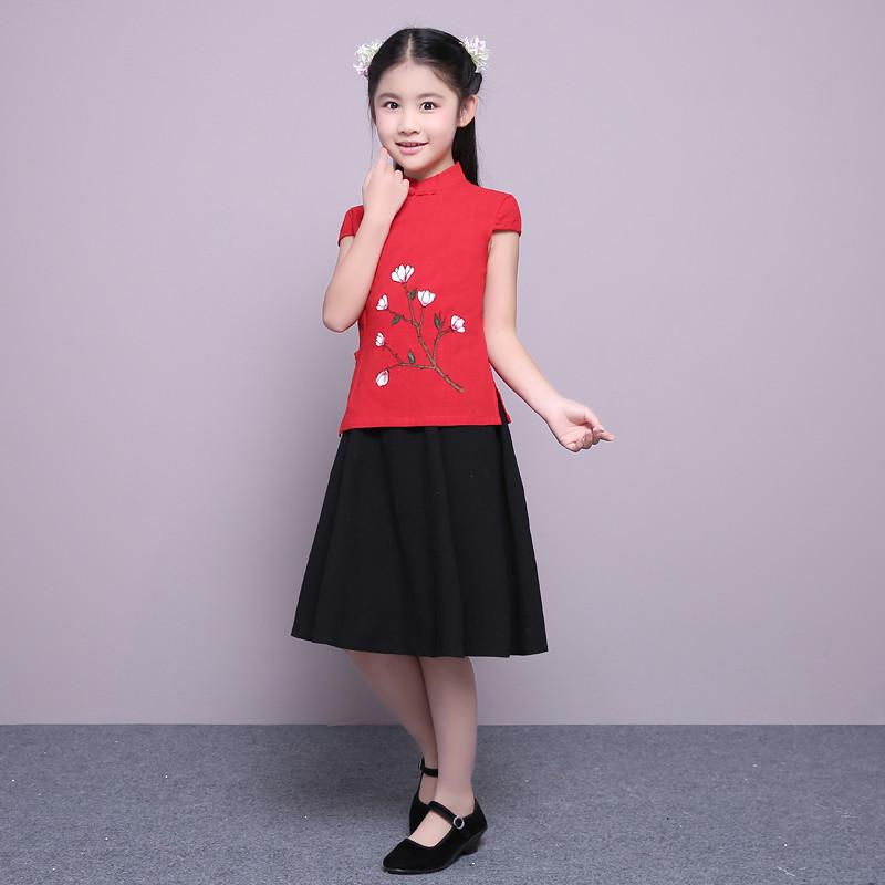 小女孩幼儿童宝宝古装民国学生装手绘古筝演出服唐装汉服国学服装 160