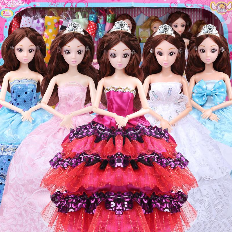 大礼盒儿童女孩玩具过家家换装洋娃娃衣服 518b-3粉蓝12关节142件套