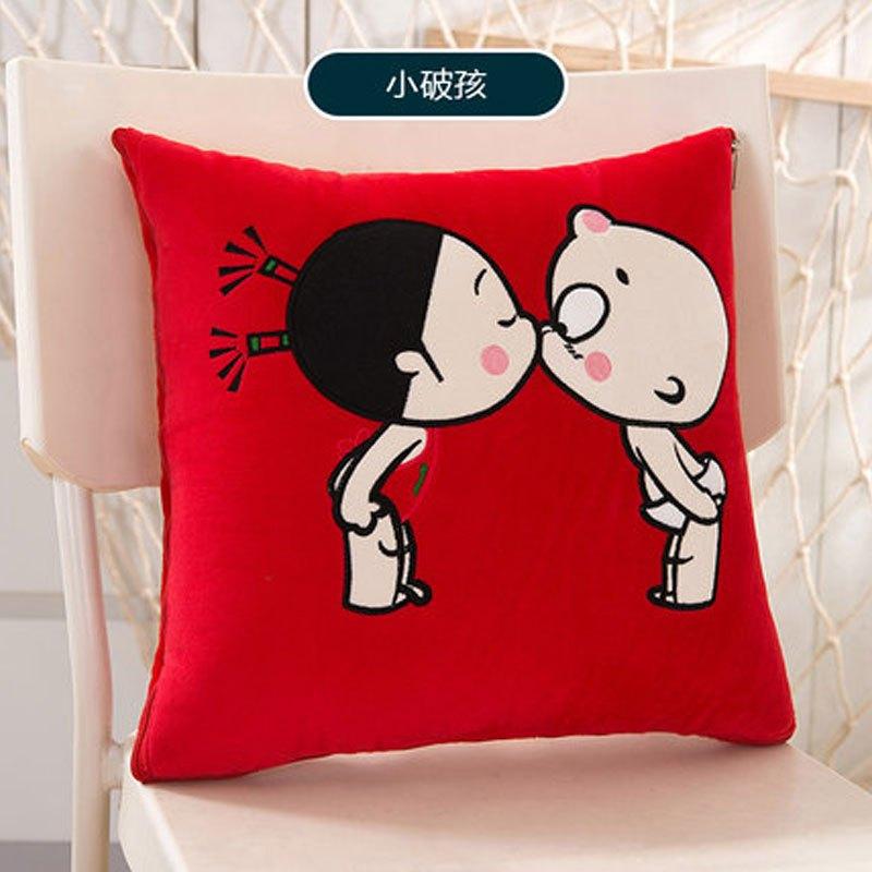 可爱卡通抱枕被子两用靠垫被多功能毯午休枕头被汽车折叠空调被小靠枕