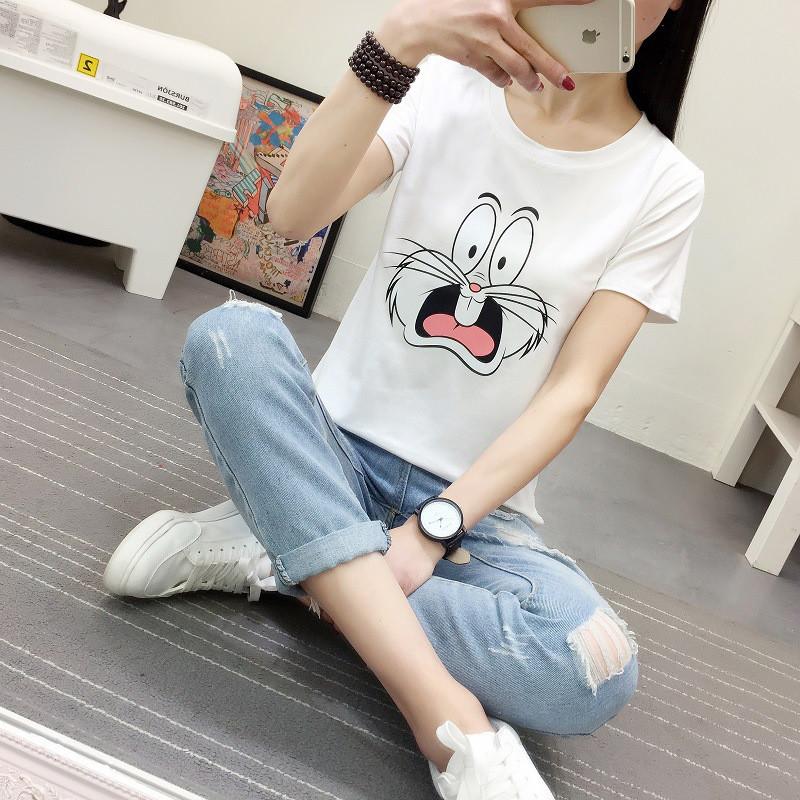 娇米诗2017夏季新款可爱卡通大眼兔子印花宽松短袖t恤女上衣149551367