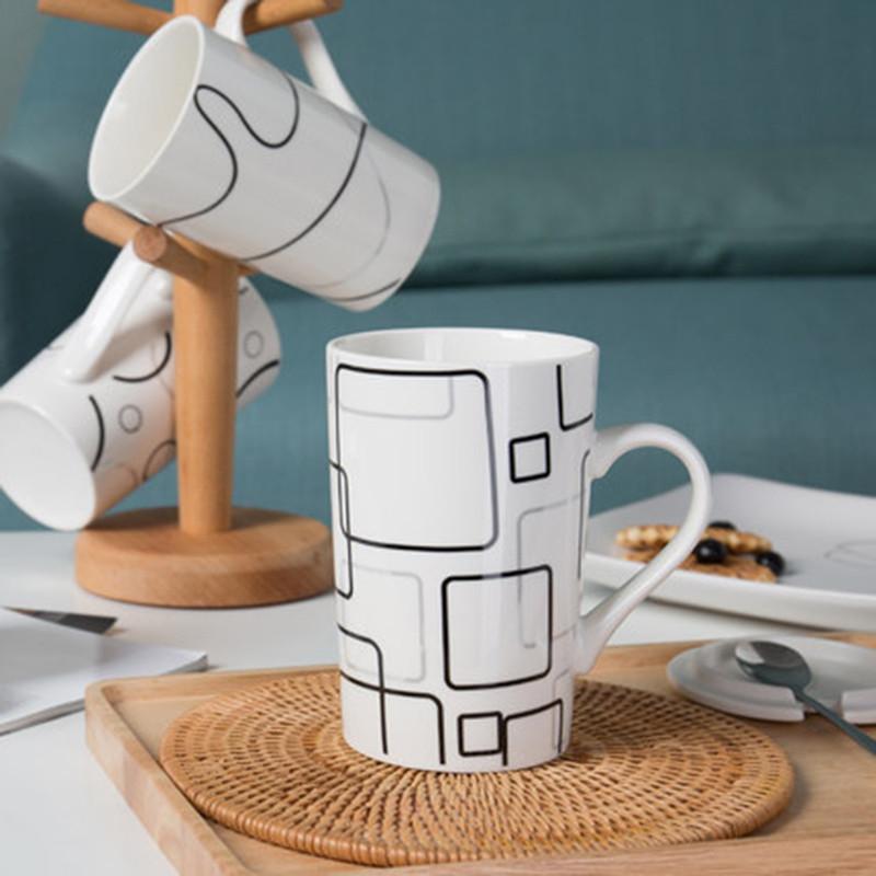 简约陶瓷杯子创意情侣喝水杯马克杯咖啡牛奶杯带盖勺大容量 情之网(竹