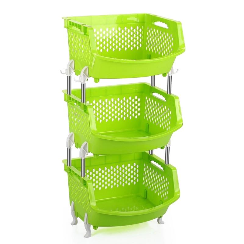 水果蔬菜架厨房置物架收纳筐落地多层3层塑料用品用具放菜菜篮子 绿色
