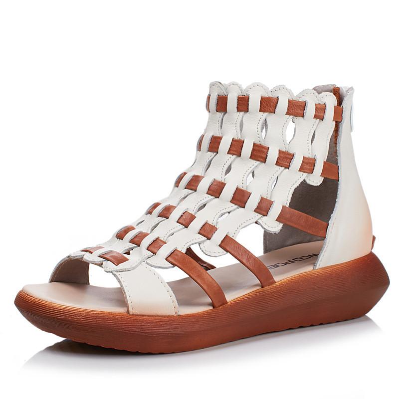 2017夏款凉鞋手工编织牛皮凉靴厚底女鞋平底松糕跟鞋1497083162116