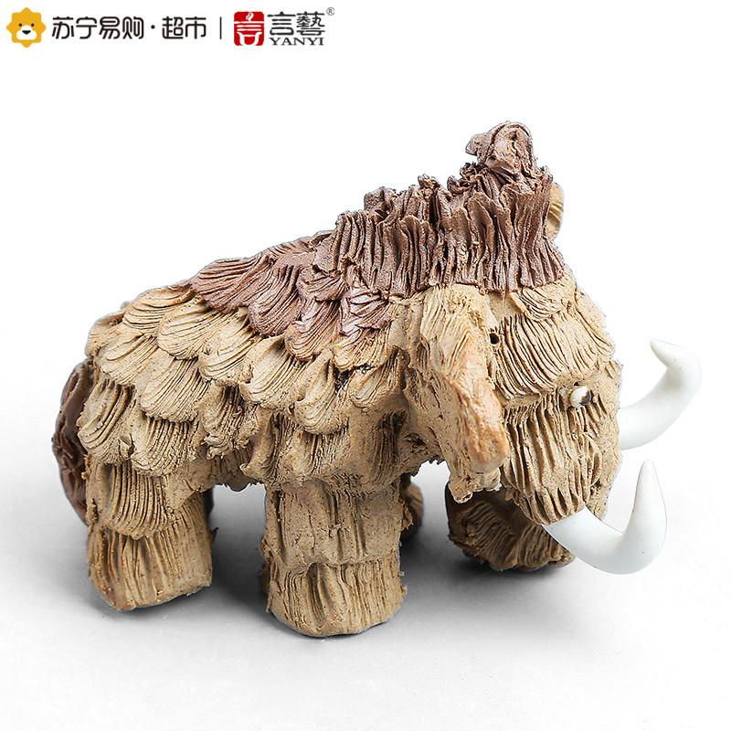 手工陶艺粗陶茶宠摆件精品陶泥茶道配件猛犸象雕塑吉祥大象图片