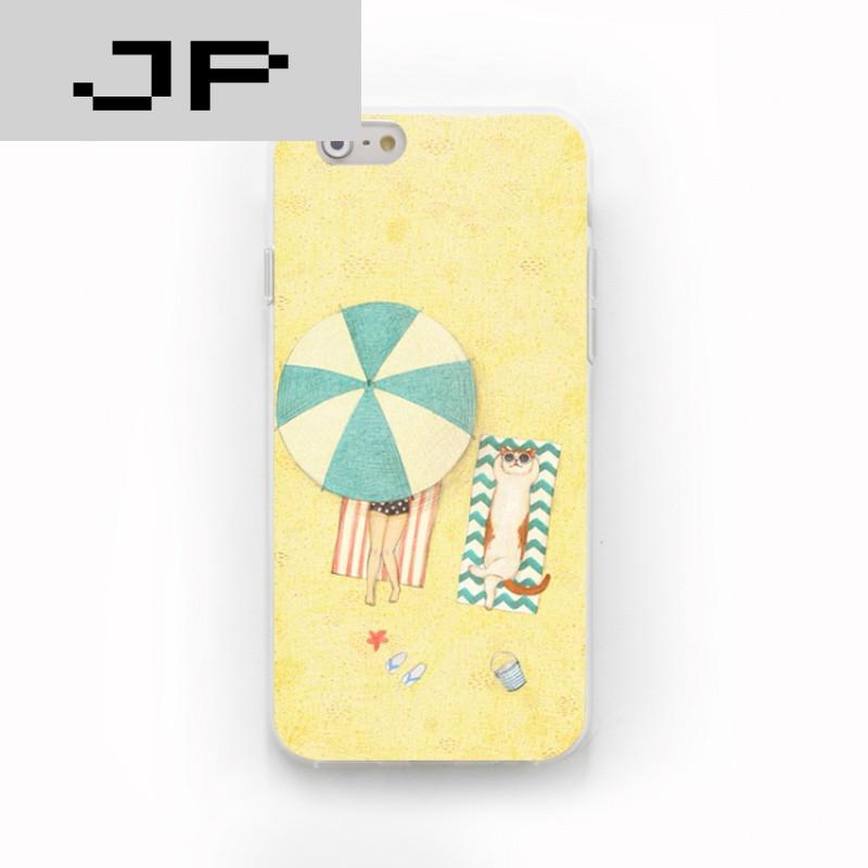jp潮流品牌新款清新可爱猫咪苹果6s 5s iphone7 6s plus 创意硅胶磨砂