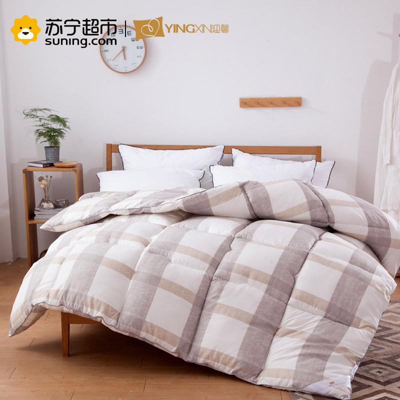 迎馨 床品家纺 羽丝绒印花保暖冬被 条格 咖 150*210cm
