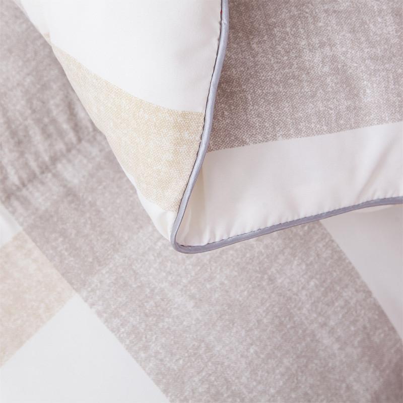 迎馨 床品家纺 羽丝绒印花保暖冬被 条格 咖 200*230cm