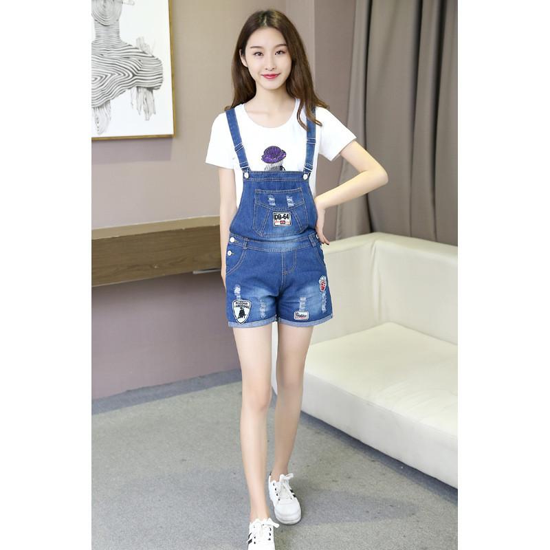 琳朵儿新款牛仔背带短裤女夏韩版显瘦学生可爱宽松连体裤潮