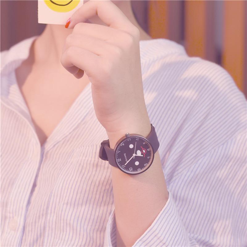 2017韩版时尚潮流女生简约小清新可爱少女款中学生手表 白带 默认尺寸