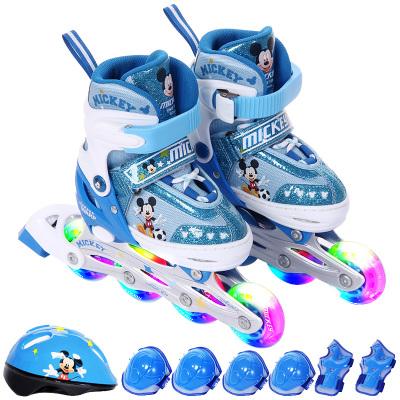 迪士尼(Disney)可調閃光兒童套裝輪滑鞋 溜冰鞋旱冰鞋八輪全閃