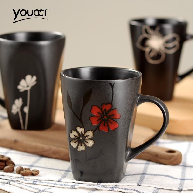 日式和风格调手绘花朵陶瓷杯子马克杯水杯咖啡杯茶杯勺 黑客系列绿色