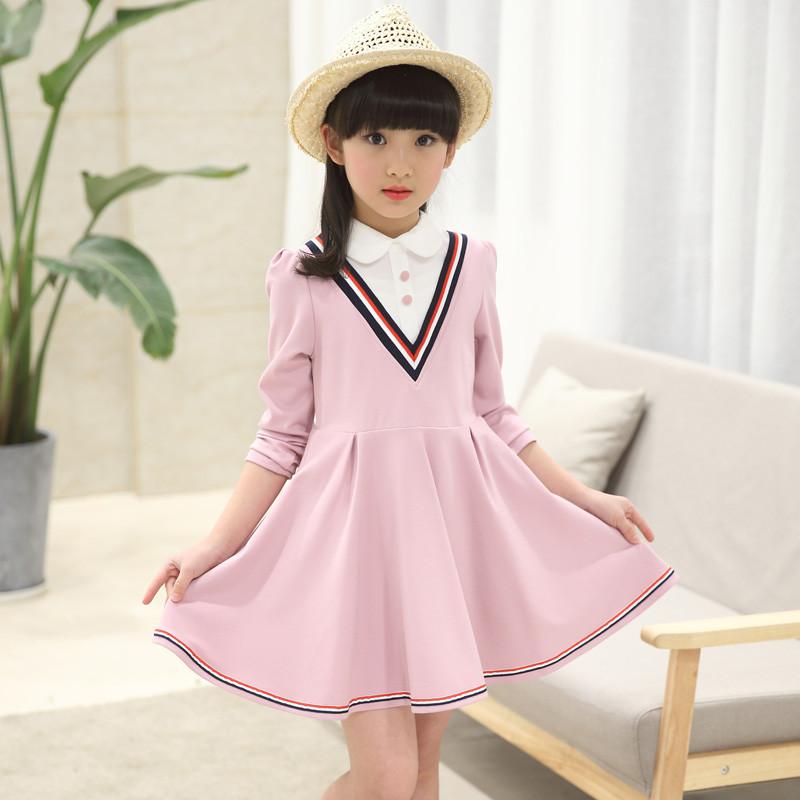 女童秋装裙子中大童儿童学院风连衣裙童装 160码(建议身高155厘米) 藏