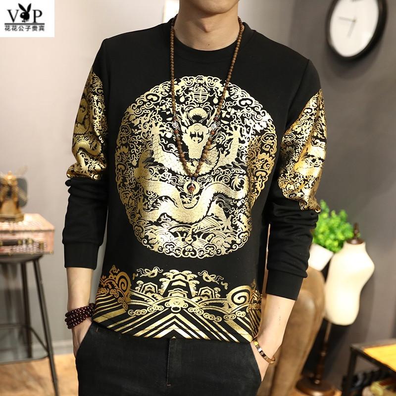 花花公子贵宾中国风男装龙纹身图案外套清朝官服皇帝龙袍卫衣复古印花
