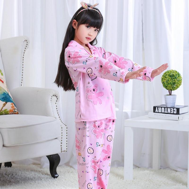 时尚可爱小熊卡通儿童睡衣套装 长袖针织棉休闲睡衣家居服套装5601 图