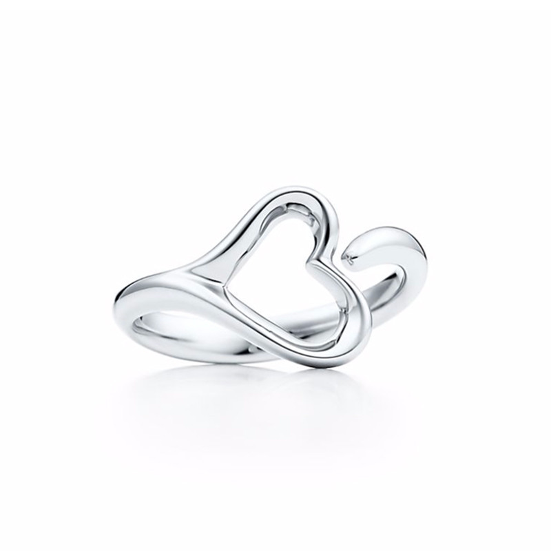 tiffany:蒂芙尼 925银 open heart 镂空心形开口戒指图片