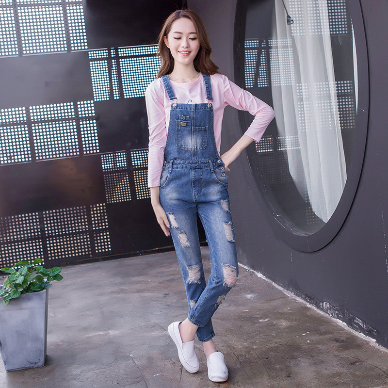 阿妮萱2017秋季破洞牛仔背带裤女学院风学生修身显瘦长裤夏