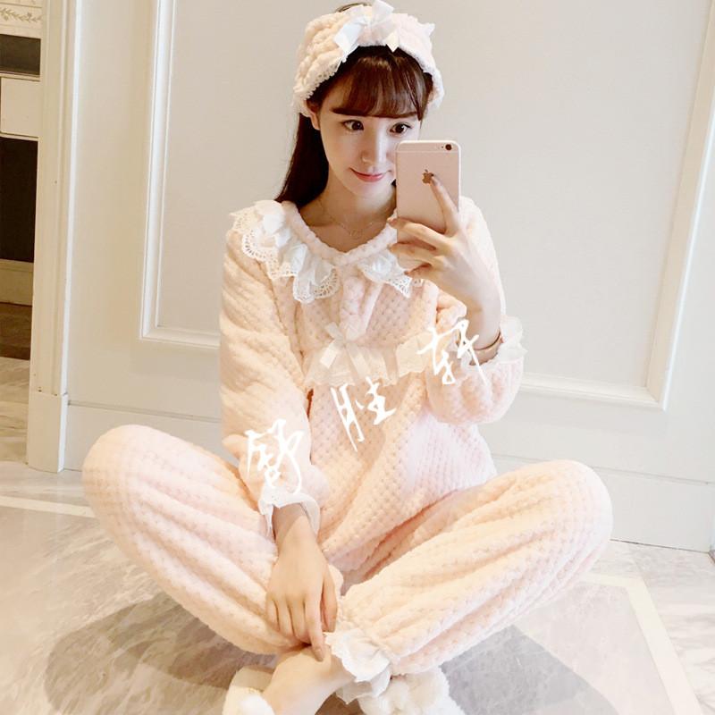 韩国甜美公主法兰绒家居服套装秋冬代购加厚可爱花边睡衣女