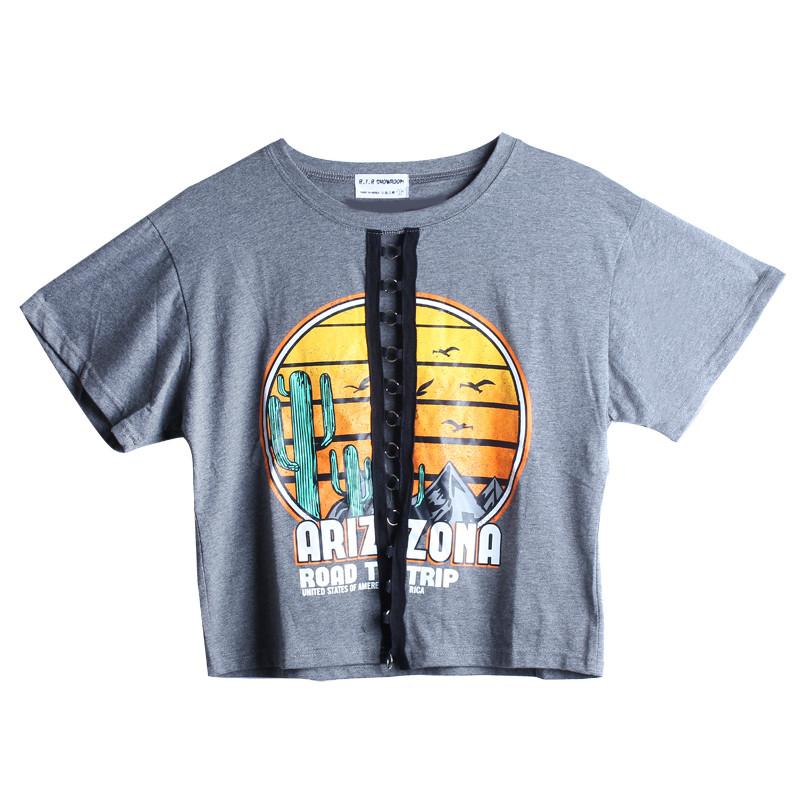 娉语女夏装2017新款前面个性风景印花上衣胸部镂空铁环设计短袖t恤
